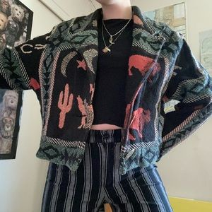 Vintage 80s cropped western sweater